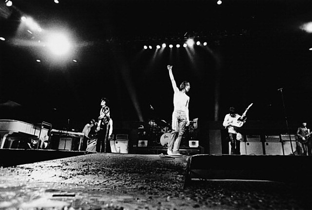 The Rolling Stones on stage at the Knebworth Festival, Hertfordshire, 21st August 1976