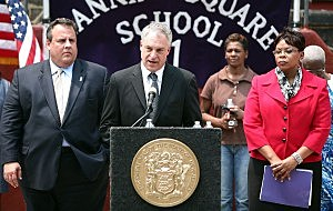 Acting Education Commissioner Chris Cerf, Governor Chris Christie, and Camden Mayor Dana Redd