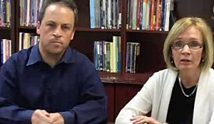 Board of Education President Seth Klukoff and Superintendent Dr. Maureen Reusche