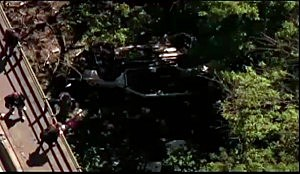 Van lies in woods after plunging from Bronx River Parkway