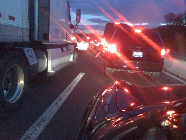 Southbound traffic on the New Jersey Turnpike following an accident