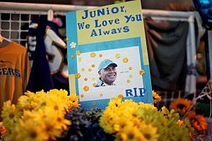 Tribute items at a makeshift memorial outside ofJunior Seau's beach home in Oceanside, California