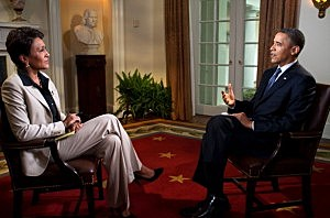 President Obama interviewed by Robin Roberts of ABC's Good Morning, America in the Cabinet Room of the White House
