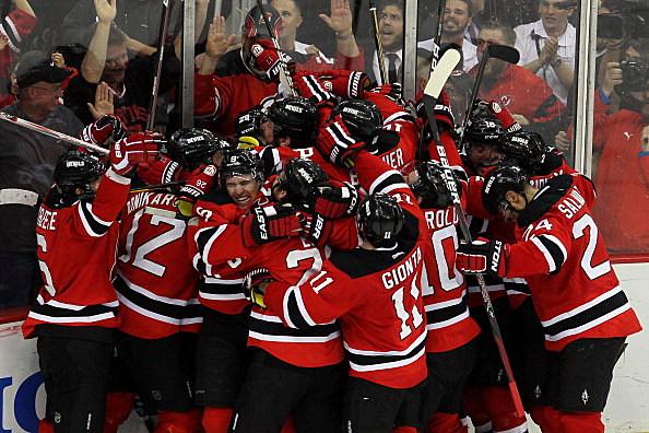 Devils celebrate winning Game 6