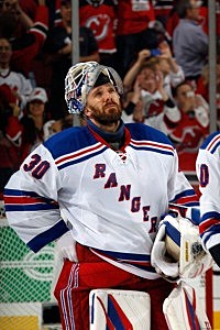 Henrik Lundqvist #30 of the New York Rangers looks on after losing Game Six of the Eastern Conference Final to the Devils