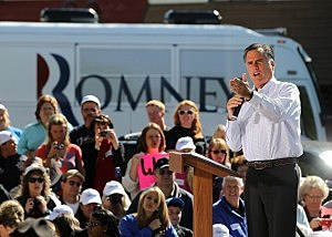 Mitt Romney speaks during a campaign rally in Craig, Colorado