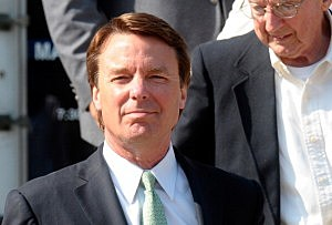 Former U.S. Sen. John Edwards exits the federal court in Greensboro, North Carolina.