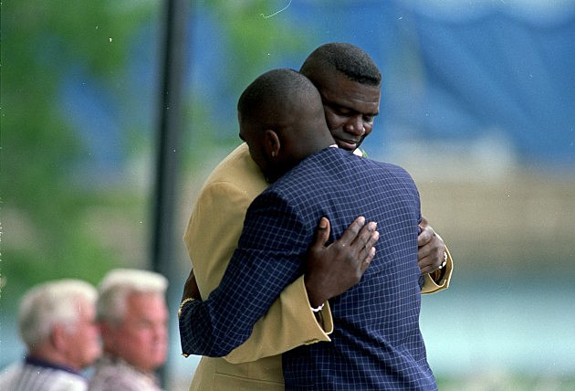 Lawrence Taylor and his son TJ, who just recently sold his Dad's Super Bowl Ring