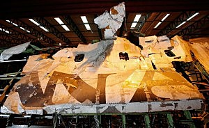 The reconstructed remains of the upper deck section of Pan Am flight 103