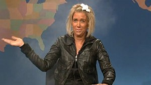 "Kristen Wiig comes onto the Weekend Update set ""smoking"" as Patricia Krentcil (NBC)"