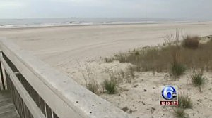 Area of Atlantic City beach where a body was discovered early Monday morning.