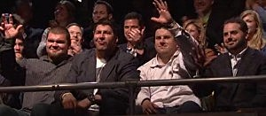 Giants offensive line in audience during Eli Manning's Saturday Night Live hosting appearance.