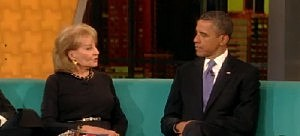 President Obama talks to Barbara Walters on The View