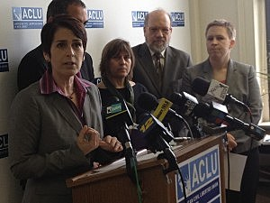 Legal Director Ed Barocas and staff from American Civil Liberties Union of New Jersey detail their lawsuit against the MVC. (Stacy Proebstle, Townsquare Media NJ)