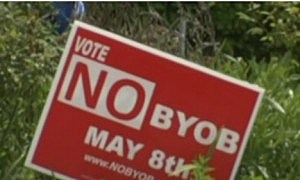Campaign sign urging a no vote on Ocean City's BYOB ballot question