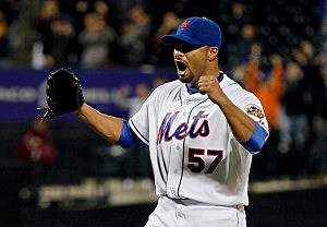 Johan Santana #57 of the New York Mets celebrates after pitching a no hitter against the St. Louis Cardinals