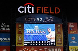 The Citi Field scoreboard following Johan Santana's no-hitter.