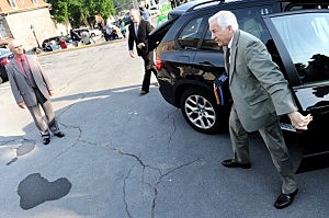 Jerry Sandusky arrives for court on the first day of his trial