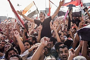 Egyptians celebrate the election of their new president Mohamad Morsi in Cairo's Tahrir Square