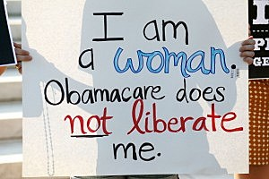 Health care law protester
