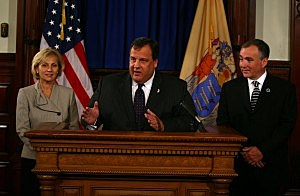 (L-R) Lt. Governor Kim Guadagno, Governor Christie and Department of Labor Commissioner Hal Wirths