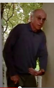 Larry David explaining why he pees sitting down Youtube screenshot