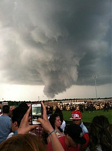 Funnel cloud over Absegami High School's graduation
