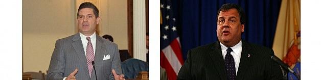 (L-R) Assembly Democrat Leader Lou Greenwald, Governor Chris Christie (Townsquare Media NJ)