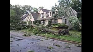 Damage in a Linwood neighborhood