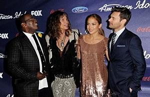 American Idol judges Randy Jackson, Steven Tyler, Jennifer Lopez and host Ryan Seacrest