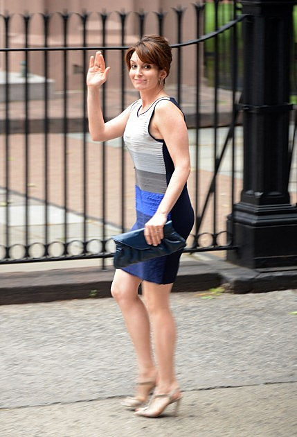 Tina Fey fils the new movie 'admission' on the campus of Princeton Unversity