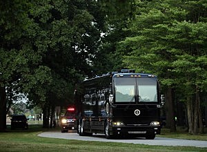 "President Obama's campaign bus, ""Ground Force One."""