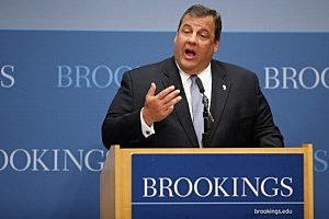 Gov. Chris Christie delivers remarks and answers questions at the Brookings Institution in Washington DC.