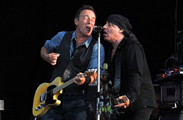 Bruce Springsteen and Steven Van Zandt perform live on stage during the second day of Hard Rock Calling at Hyde Park in London