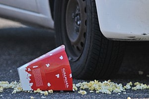 Popcorn on the ground outside the Century 16 theater in Aurora, Colorado