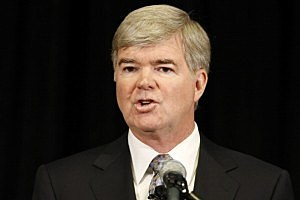 NCAA president Mark Emmert announces sanctions against Penn State.