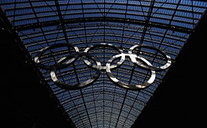 The Olympic Rings are seen at St.Pancras International Station