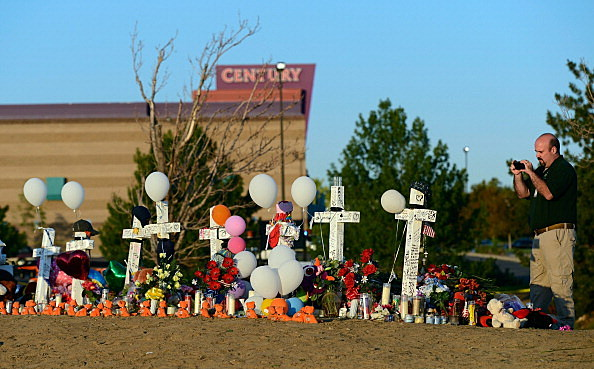 Makeshift memorial to the 12 movie theater shooting victim