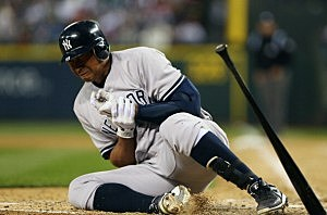 Alex Rodriguez goes to the ground after being hit by a pitch from Felix Hernandez.