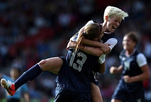 Alex Morgan #13 of USA is congratulated by Megan Rapinoe after scoring
