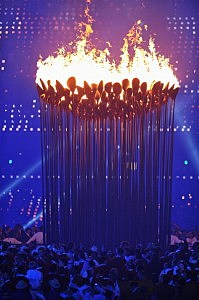 The Olympic Cauldron is lit during the Opening Ceremony of the London 2012 Olympic Games