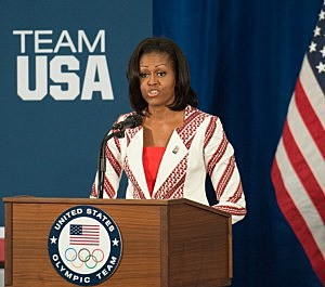 First Lady Michelle Obama addresses members of the 2012 Team USA at the University of East London