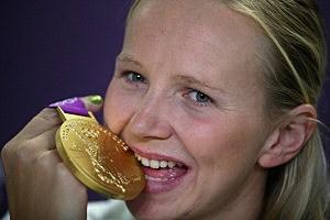 Melanie Schlanger of Australia,  gold medalist in the Women?s 4x100m freestyle relay
