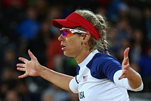 April Ross of the United States gestures during Women's Beach Volleyball Preliminary match between the United States and Argentina