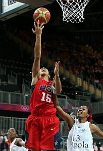 Candace Parker #15 of United States lays up a shot during the Women's Basketball Preliminary Round match against Angola on Day 3
