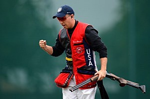Vincent Hancock of the United States reacts after competing in the Men's Skeet Shooting final round on Day 4 of the London 2012 Olympic Games