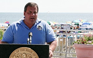 Governor Christie appears in Ocean City.