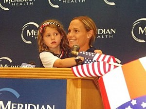 Christie Rampone at Jersey Shore University Medical Center rally