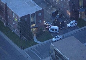 Apartment being searched by police and law enforcement in Aurora, Colorado