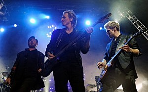Duran Duran singer Simon Le Bon, bassist John Taylor and guitarist Dom Brown